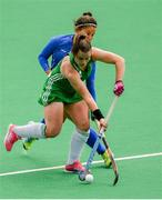 9 June 2019; Lizzie Colvin of Ireland in action against Natálie Nováková of Czech Republic during the FIH World Hockey Series Group A match between Ireland and Czech Republic at Banbridge Hockey Club in Banbridge, Down. Photo by Eóin Noonan/Sportsfile