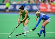 9 June 2019; Anna O'Flanagan of Ireland in action against Tereza Mejzlikova of Czech Republic during the FIH World Hockey Series Group A match between Ireland and Czech Republic at Banbridge Hockey Club in Banbridge, Down. Photo by Eóin Noonan/Sportsfile