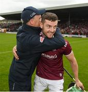 9 June 2019; Galway manager Mícheál Donoghue celebrates with Adrian Touhy after the Leinster GAA Hurling Senior Championship Round 4 match between Kilkenny and Galway at Nowlan Park in Kilkenny. Photo by Daire Brennan/Sportsfile