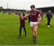 9 June 2019; Joseph Cooney of Galway celebrates with supporter Jack Murray, aged 12, from Killkenard, Co Galway, after the Leinster GAA Hurling Senior Championship Round 4 match between Kilkenny and Galway at Nowlan Park in Kilkenny. Photo by Daire Brennan/Sportsfile