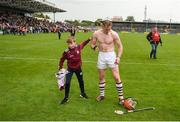 9 June 2019; Conor Whelan of Galway gives his jersey to supporter Jack Murray, aged 12, from Killkenard, Co Galway, after the Leinster GAA Hurling Senior Championship Round 4 match between Kilkenny and Galway at Nowlan Park in Kilkenny. Photo by Daire Brennan/Sportsfile