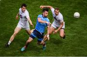 9 June 2019; Michael Darragh MacAuley of Dublin in action against Mark Dempsey, left, and Tommy Moolick of Kildare during the Leinster GAA Football Senior Championship semi-final match between Dublin and Kildare at Croke Park in Dublin. Photo by Stephen McCarthy/Sportsfile