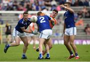 9 June 2019; Niall Grimley of Armagh in action against Jason McLoughlin, Oisin Kiernan and Killian Clarke of Cavan during the Ulster GAA Football Senior Championship Semi-Final Replay match between Cavan and Armagh at St Tiarnach's Park in Clones, Monaghan. Photo by Oliver McVeigh/Sportsfile