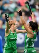 9 June 2019; Zoe Wilson, left, of Ireland celebrates with team-mate Anna O'Flanagan after scoring a goal for her side during the FIH World Hockey Series Group A match between Ireland and Czech Republic at Banbridge Hockey Club in Banbridge, Down. Photo by Eóin Noonan/Sportsfile