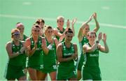 9 June 2019; Ireland players acknowledges supporters following the FIH World Hockey Series Group A match between Ireland and Czech Republic at Banbridge Hockey Club in Banbridge, Down. Photo by Eóin Noonan/Sportsfile