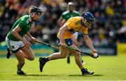9 June 2019; Podge Collins of Clare in action against Diarmaid Byrnes of Limerick during the Munster GAA Hurling Senior Championship Round 4 match between Limerick and Clare at the LIT Gaelic Grounds in Limerick. Photo by Diarmuid Greene/Sportsfile