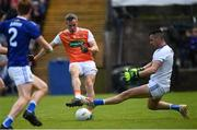 9 June 2019; Mark Shields of Armagh has his shot on goal saved by Raymond Galligan of Cavan during the Ulster GAA Football Senior Championship Semi-Final Replay match between Cavan and Armagh at St Tiarnach's Park in Clones, Monaghan. Photo by Oliver McVeigh/Sportsfile