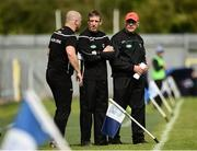 9 June 2019; Armagh Manager Kieran McGeeney, centre, along with selectors Paddy McKeever, left, and Jim McCorry on the sideline during the Ulster GAA Football Senior Championship Semi-Final Replay match between Cavan and Armagh at St Tiarnach's Park in Clones, Monaghan. Photo by Oliver McVeigh/Sportsfile