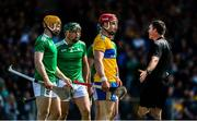 9 June 2019; Referee James Owens speaks to Seán Finn of Limerick and John Conlon of Clare during the Munster GAA Hurling Senior Championship Round 4 match between Limerick and Clare at the LIT Gaelic Grounds in Limerick. Photo by Diarmuid Greene/Sportsfile