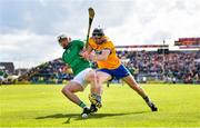 9 June 2019; Aaron Gillane of Limerick in action against David McInerney of Clare during the Munster GAA Hurling Senior Championship Round 4 match between Limerick and Clare at the LIT Gaelic Grounds in Limerick. Photo by Diarmuid Greene/Sportsfile