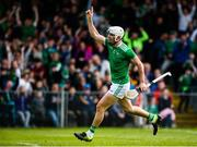9 June 2019; Aaron Gillane of Limerick celebrates after scoring his side's first goal during the Munster GAA Hurling Senior Championship Round 4 match between Limerick and Clare at the LIT Gaelic Grounds in Limerick. Photo by Diarmuid Greene/Sportsfile