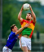 9 June 2019; Ciaran Moran of Carlow in action against Daniel Mimnagh of Longford during the GAA Football All-Ireland Senior Championship Round 1 match between Carlow and Longford at Netwatch Cullen Park in Carlow. Photo by Ramsey Cardy/Sportsfile