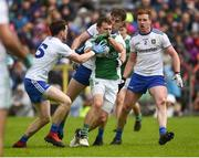 9 June 2019; Declan McCusker of Fermanagh in action against Conor McManus, Niall Kearns and Kieran Duffy of Monaghan during the GAA Football All-Ireland Senior Championship Round 1 match between Monaghan and Fermanagh at St Tiarnach's Park in Clones, Monaghan. Photo by Oliver McVeigh/Sportsfile