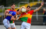 9 June 2019; Sean Gannon, right, and Ciaran Moran of Carlow in action against Michael Quinn of Longford during the GAA Football All-Ireland Senior Championship Round 1 match between Carlow and Longford at Netwatch Cullen Park in Carlow. Photo by Ramsey Cardy/Sportsfile