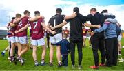 9 June 2019; Senan Lawlor, aged three, from Rosemount, Co. Westmeath, joins in the team huddle following the GAA Football All-Ireland Senior Championship Round 1 match between Westmeath and Waterford at TEG Cusack Park in Mullingar, Westmeath. Photo by Harry Murphy/Sportsfile