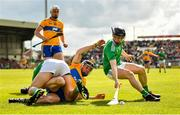 9 June 2019; Graeme Mulcahy, right, and Aaron Gillane of Limerick in action against David McInerney of Clare during the Munster GAA Hurling Senior Championship Round 4 match between Limerick and Clare at the LIT Gaelic Grounds in Limerick. Photo by Diarmuid Greene/Sportsfile