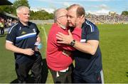 9 June 2019; Cavan manager Mickey Graham celebrates  with a kiss from his father Mickey Graham senior after the Ulster GAA Football Senior Championship Semi-Final Replay match between Cavan and Armagh at St Tiarnach's Park in Clones, Monaghan. Photo by Oliver McVeigh/Sportsfile