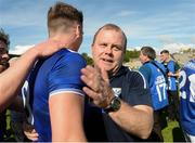 9 June 2019; Cavan manager Mickey Graham celebrates  with Conor Brady of Cavan after the Ulster GAA Football Senior Championship Semi-Final Replay match between Cavan and Armagh at St Tiarnach's Park in Clones, Monaghan. Photo by Oliver McVeigh/Sportsfile