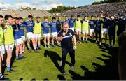 9 June 2019; Cavan manager Mickey Graham celebrates  with his players in a team huddle after the Ulster GAA Football Senior Championship Semi-Final Replay match between Cavan and Armagh at St Tiarnach's Park in Clones, Monaghan. Photo by Oliver McVeigh/Sportsfile