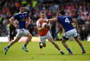 9 June 2019; Mark Shields of Armagh in action against Conor Moynagh and Conor Rehill of Cavan during the Ulster GAA Football Senior Championship Semi-Final Replay match between Cavan and Armagh at St Tiarnach's Park in Clones, Monaghan. Photo by Philip Fitzpatrick/Sportsfile