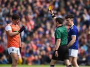 9 June 2019; Refree Paddy Neilan issues yellow cards to  Paddy Burns of Armagh and Dara McVeety of Cavan during the Ulster GAA Football Senior Championship Semi-Final Replay match between Cavan and Armagh at St Tiarnach's Park in Clones, Monaghan. Photo by Oliver McVeigh/Sportsfile