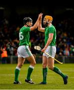 9 June 2019; Pat Ryan, left, and Seamus Flanagan of Limerick celebrate after the Munster GAA Hurling Senior Championship Round 4 match between Limerick and Clare at the LIT Gaelic Grounds in Limerick. Photo by Diarmuid Greene/Sportsfile