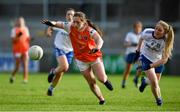 9 June 2019; Niamh Reel of Armagh in action against Hannah McSkane of Monaghan during the TG4 Ulster Ladies Senior Football Championship Semi-Final match between Armagh and Monaghan at Pairc Esler in Newry, Down. Photo by David Fitzgerald/Sportsfile