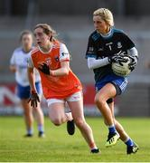 9 June 2019; Brídín Tierney of Monaghan in action against Niamh Reel of Armagh during the TG4 Ulster Ladies Senior Football Championship Semi-Final match between Armagh and Monaghan at Pairc Esler in Newry, Down. Photo by David Fitzgerald/Sportsfile