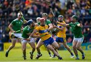 9 June 2019; John Conlon of Clare in action against Mike Casey, William O'Donoghue and Seán Finn of Limerick during the Munster GAA Hurling Senior Championship Round 4 match between Limerick and Clare at the LIT Gaelic Grounds in Limerick. Photo by Diarmuid Greene/Sportsfile