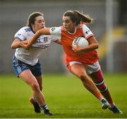 9 June 2019; Aimee Mackin of Armagh in action against Eva Woods of Monaghan during the TG4 Ulster Ladies Senior Football Championship Semi-Final match between Armagh and Monaghan at Pairc Esler in Newry, Down. Photo by David Fitzgerald/Sportsfile