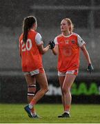 9 June 2019; Sisters and Armagh team-mates Blaithin, right, and Aimee Mackin celebrate following the TG4 Ulster Ladies Senior Football Championship Semi-Final match between Armagh and Monaghan at Pairc Esler in Newry, Down. Photo by David Fitzgerald/Sportsfile