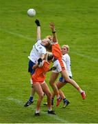 9 June 2019; Eimear McAnespie, left, and Abbie McCarey of Monaghan contest the second half restart against Niamh Coleman, left, and Caroline O'Hanlon of Armagh during the TG4 Ulster Ladies Senior Football Championship Semi-Final match between Armagh and Monaghan at Pairc Esler in Newry, Down. Photo by David Fitzgerald/Sportsfile