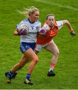 9 June 2019; Eimear McAnespie of Monaghan in action against Aoife McCoy of Armagh during the TG4 Ulster Ladies Senior Football Championship Semi-Final match between Armagh and Monaghan at Pairc Esler in Newry, Down. Photo by David Fitzgerald/Sportsfile