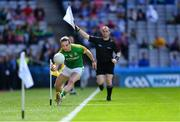 9 June 2019; Cillian O'Sullivan of Meath fails to keep the ball in play as linesman Brendan Cawley signals for a sideline ball during the Leinster GAA Football Senior Championship Semi-Final match between Meath and Laois at Croke Park in Dublin. Photo by Piaras Ó Mídheach/Sportsfile