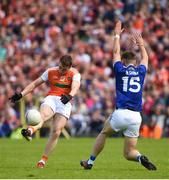 9 June 2019; Charlie Vernon of Armagh in action against Conor Madden of Cavanduring the Ulster GAA Football Senior Championship Semi-Final Replay match between Cavan and Armagh at St Tiarnach's Park in Clones, Monaghan. Photo by Oliver McVeigh/Sportsfile
