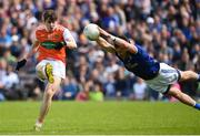 9 June 2019; Andy Murnin of Armagh has his shot blocked by Conor Moynagh of Cavan during the Ulster GAA Football Senior Championship Semi-Final Replay match between Cavan and Armagh at St Tiarnach's Park in Clones, Monaghan. Photo by Oliver McVeigh/Sportsfile