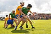 9 June 2019; Graeme Mulcahy of Limerick in action against Conor Cleary of Clare during the Munster GAA Hurling Senior Championship Round 4 match between Limerick and Clare at the LIT Gaelic Grounds in Limerick. Photo by Diarmuid Greene/Sportsfile