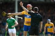 9 June 2019; Peter Duggan of Clare with referee James Owens during the Munster GAA Hurling Senior Championship Round 4 match between Limerick and Clare at the LIT Gaelic Grounds in Limerick. Photo by Diarmuid Greene/Sportsfile