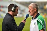 9 June 2019; Limerick manager John Kiely is interviewed by Liam Aherne of RTE after the Munster GAA Hurling Senior Championship Round 4 match between Limerick and Clare at the LIT Gaelic Grounds in Limerick. Photo by Diarmuid Greene/Sportsfile