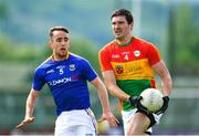 9 June 2019; Conor Lawlor of Carlow in action against Colm Smyth of Longford during the GAA Football All-Ireland Senior Championship Round 1 match between Carlow and Longford at Netwatch Cullen Park in Carlow. Photo by Ramsey Cardy/Sportsfile