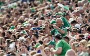 9 June 2019; Limerick supporters celebrate a score during the Munster GAA Hurling Senior Championship Round 4 match between Limerick and Clare at the LIT Gaelic Grounds in Limerick. Photo by Diarmuid Greene/Sportsfile