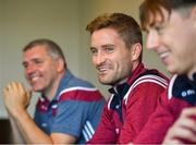 10 June 2019; Gary O'Donnell of Galway, centre, alongside manager Kevin Walsh, left, and Tom Flynn during a press conference at Loughrea Hotel and Spa in Loughrea, Galway. Photo by David Fitzgerald/Sportsfile
