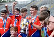 10 June 2019; Belgrove Senior BNS captain Joe Sheppard, centre, and his team-mates celebrate after winning the Corn Herald during the Allianz Cumann na mBunscol Finals 2019 at Croke Park in Dublin. Photo by Piaras Ó Mídheach/Sportsfile