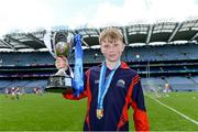 10 June 2019;  Eoghan Ó Braonáin, captain of Scoil Santain, Tallaght, with the Corn Pádraig Mac Giolla Bhearraigh after beating Lucan Educate Together during the Allianz Cumann na mBunscol Finals 2019 at Croke Park in Dublin. Photo by Piaras Ó Mídheach/Sportsfile