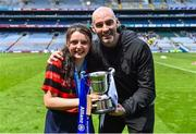 10 June 2019; RTÉ sport pundit Richie Sadlier with his niece Jessica Hughes after she won the Corn Bean Uí Phuirseil for St Colmcille's SNS Knocklyon against St Pius X GNS, Terenure, during the Allianz Cumann na mBunscol Finals 2019 at Croke Park in Dublin. Photo by Piaras Ó Mídheach/Sportsfile