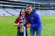 10 June 2019; Dublin hurler Conal Keaney with his daughter Kate Keaney after she won the Corn Bean Uí Phuirseil for St Colmcille's SNS Knocklyon against St Pius X GNS, Terenure, during the Allianz Cumann na mBunscol Finals 2019 at Croke Park in Dublin. Photo by Piaras Ó Mídheach/Sportsfile