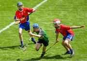 10 June 2019; Senan Bolger of St Mary's BNS, Lucan, in action against Conal Murphy, right, and Oran Rowley of Belgrove Senior BNS, Clontarf, in the Corn Herald Final during the Allianz Cumann na mBunscol Finals 2019 at Croke Park in Dublin. Photo by Piaras Ó Mídheach/Sportsfile
