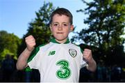 10 June 2019; Republic of Ireland supporter Brandyn McGovern-lynch, aged 9, from Kells, Co. Meath prior to the UEFA EURO2020 Qualifier Group D match between Republic of Ireland and Gibraltar at Aviva Stadium, Lansdowne Road in Dublin. Photo by Harry Murphy/Sportsfile