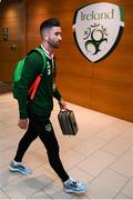 10 June 2019; Sean Maguire of Republic of Ireland arrives prior to the UEFA EURO2020 Qualifier Group D match between Republic of Ireland and Gibraltar at Aviva Stadium, Lansdowne Road in Dublin. Photo by Stephen McCarthy/Sportsfile