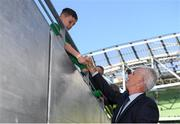 10 June 2019; Republic of Ireland manager Mick McCarthy signs an autograph for a young supporter prior to the UEFA EURO2020 Qualifier Group D match between Republic of Ireland and Gibraltar at Aviva Stadium, Lansdowne Road in Dublin. Photo by Stephen McCarthy/Sportsfile